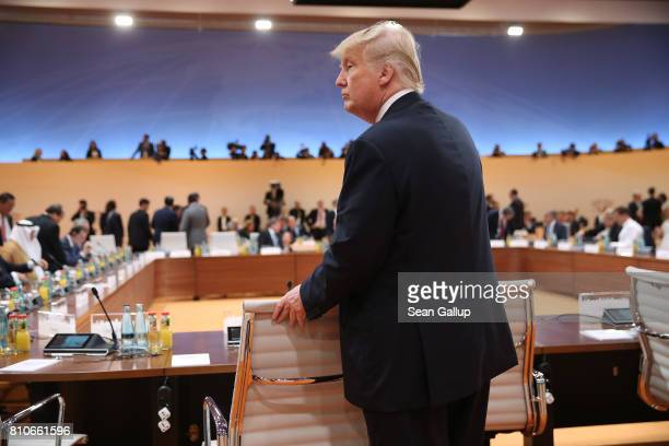 S President Donald Trump arrives for the morning working session on the second day of the G20 economic summit on July 8 2017 in Hamburg Germany G20...