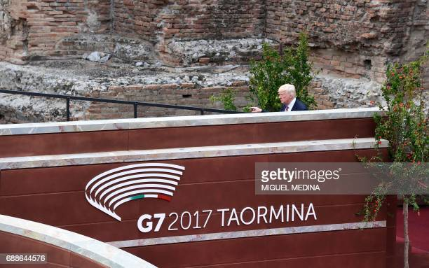 US President Donald Trump arrives for the Summit of the Heads of State and of Government of the G7 the group of most industrialized economies plus...