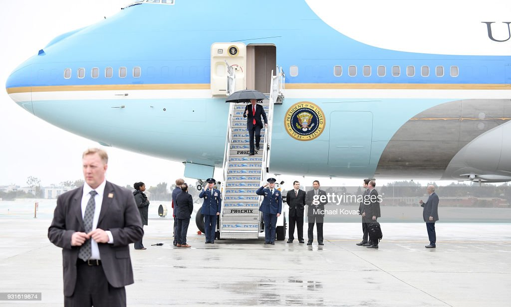 U.S. President Donald Trump arrives in Air Force One at LAX Airport on March 13, 2018 in Los Angeles, California.