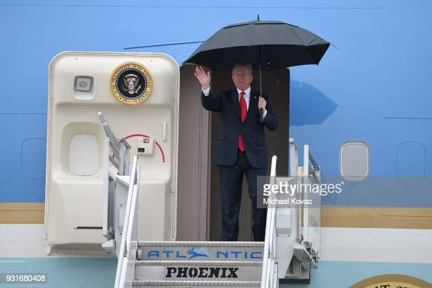S President Donald Trump arrives in Air Force One at LAX Airport on March 13 2018 in Los Angeles California