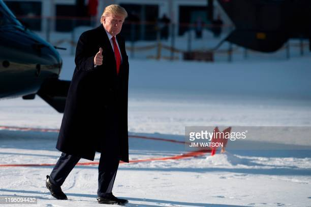 US President Donald Trump arrives in Davos Switzerland on January 21 for the World Economic Forum