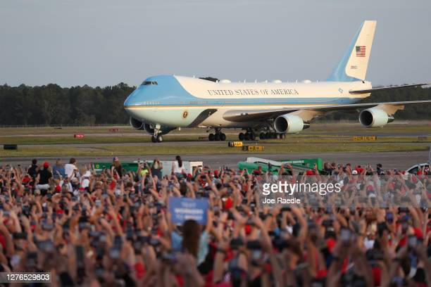 President Donald Trump arrives on Air Force One for his 'The Great American Comeback Rally' at Cecil Airport on September 24 2020 in Jacksonville...