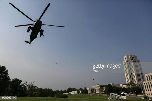 S President Donald Trump arrives on Marine One at Walter Reed National Military Medical Center in Bethesda MD on May 14 2018 Trump is visiting first...