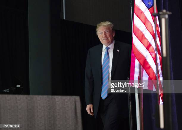 US President Donald Trump arrives on stage during a National Federation of Independent Businesses 75th anniversary celebration in Washington DC US on...