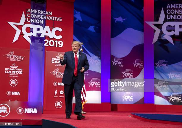 US President Donald Trump arrives on stage to speak during the Conservative Political Action Conference in National Harbor Maryland US on Saturday...