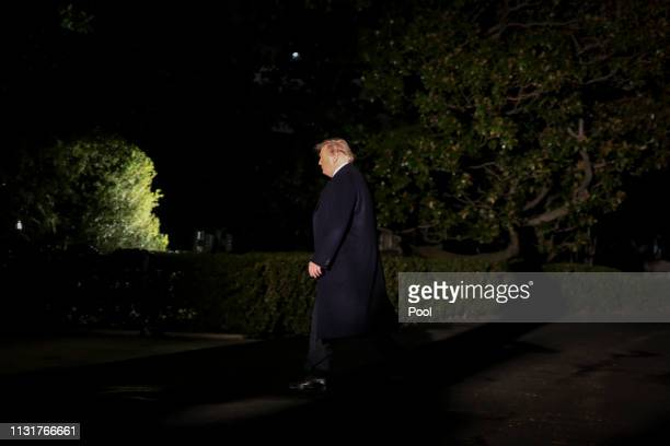 President Donald Trump arrives on the South Lawn of the White House on March 20 2019 in Washington DC Trump was in Ohio for a short visit to the Lima...