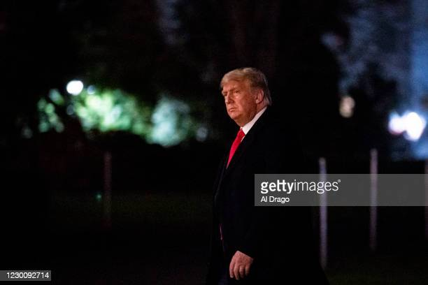 President Donald Trump arrives on the South Lawn of the White House, on December 12, 2020 in Washington, DC. Trump traveled to the Army versus Navy...
