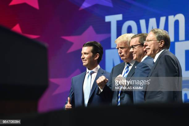 US President Donald Trump arrives speak to speak at the NRA's annual convention on May 4 2018 at the Kay Bailey Hutchison Convention Center in Dallas...