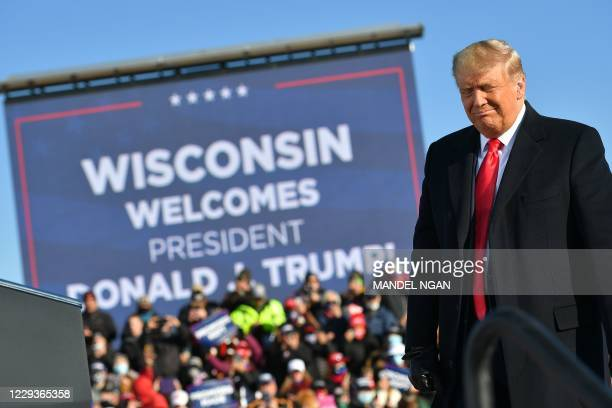 President Donald Trump arrives to a campaign rally at Green Bay Austin Straubel International Airport in Green Bay, Wisconsin on October 30, 2020.