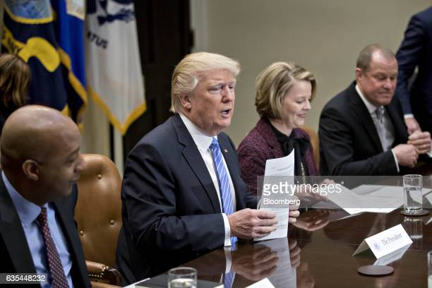 US President Donald Trump arrives to a listening session with the Retail Industry Leaders Association and member company chief executive officers...