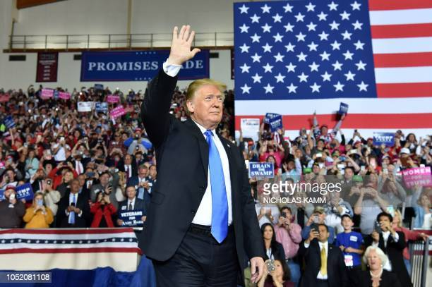 US President Donald Trump arrives to a Make America Great Again rally at the Eastern Kentucky University in Richmond Kentucky on October 13 2018
