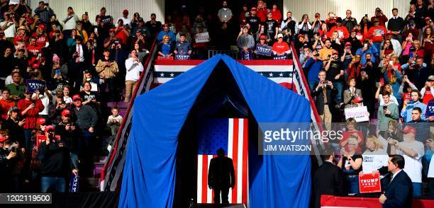 """President Donald Trump arrives to address a """"Keep America Great"""" rally in Colorado Springs, Colorado, on February 20, 2020."""