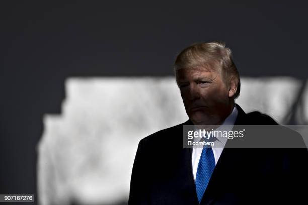 US President Donald Trump arrives to address March for Life participants and prolife leaders in the Rose Garden of the White House in Washington DC...