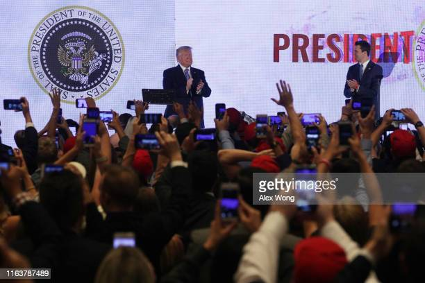S President Donald Trump arrives to address the Teen Student Action Summit July 23 2019 in Washington DC Conservative high school students gathered...