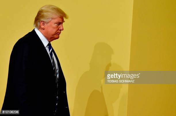 US President Donald Trump arrives to attend the G20 summit in Hamburg northern Germany on July 7 2017 Leaders of the world's top economies gather...