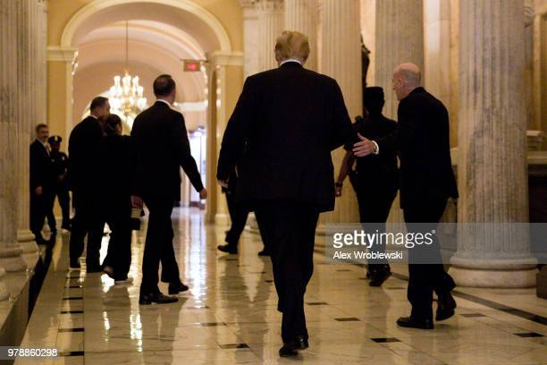 President Donald Trump arrives to Capitol Hill on June 19 2018 in Washington DC The President will be addressing the house Republican conference...