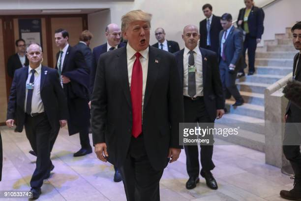 US President Donald Trump arrives to deliver a special address on the closing day of the World Economic Forum in Davos Switzerland on Friday Jan 26...