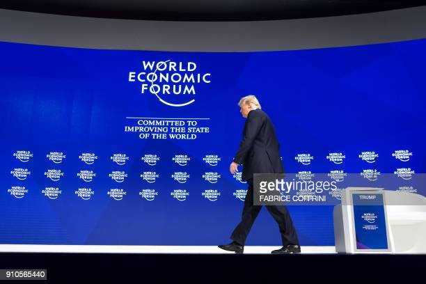 US President Donald Trump arrives to deliver a speech during the World Economic Forum annual meeting on January 26 2018 in Davos eastern Switzerland...