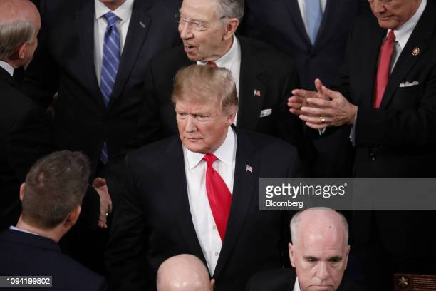 US President Donald Trump arrives to deliver a State of the Union address to a joint session of Congress at the US Capitol in Washington DC US on...