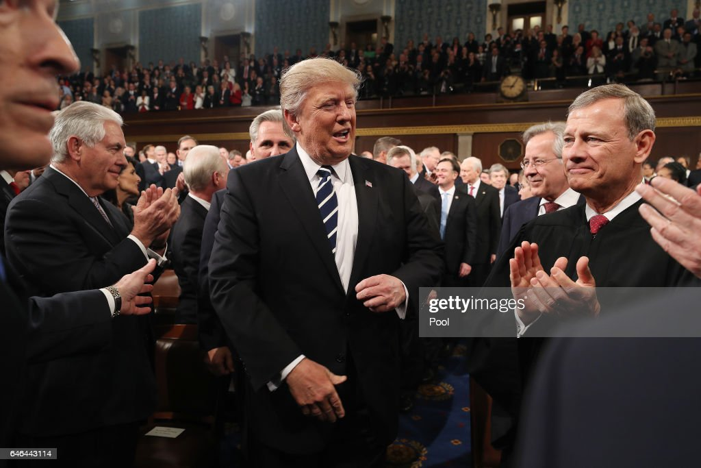 Donald Trump Delivers Address To Joint Session Of Congress : News Photo