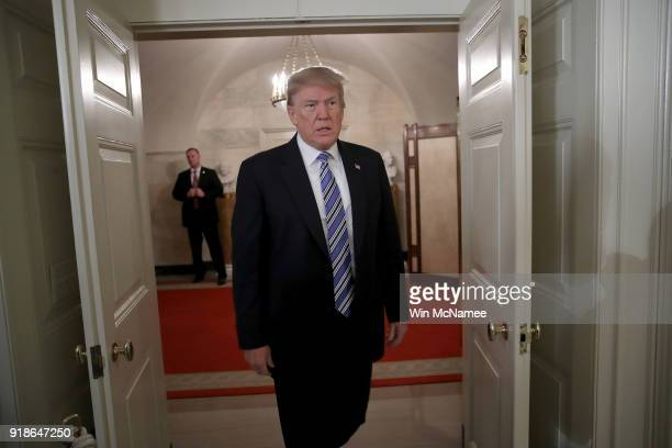 S President Donald Trump arrives to deliver remarks about the shooting yesterday at Marjory Stoneman Douglas High School at the White House on...