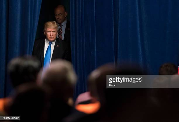 US President Donald Trump arrives to deliver remarks at the Unleashing American Energy event at the Department of Energy on June 29 2017 in...
