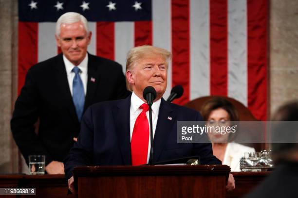 S President Donald Trump arrives to deliver the State of the Union address in the House chamber on February 4 2020 in Washington DC Trump is...