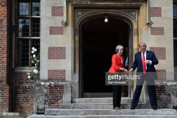 President Donald Trump arrives to hold bilateral talks with British Prime Minister Theresa May at her grace and favour country residence Chequers on...