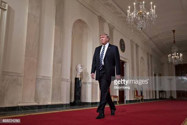 US President Donald Trump arrives to nominate Neil Gorsuch federal appeals court judge not pictured as an associate justice of the US Supreme Court...