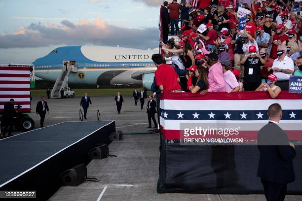 President Donald Trump arrives to speak at a campaign rally at Cecil Airport on September 24 in Jacksonville, Florida.
