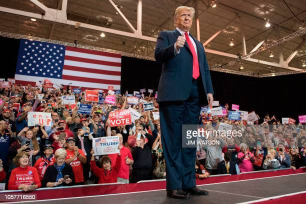 US President Donald Trump arrives to speak at a Make America Great Again rally in Cleveland Ohio on November 5 2018