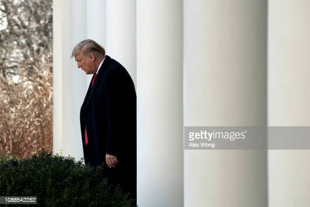 S President Donald Trump arrives to speak at a press event in the Rose Garden of the White House on January 25 2019 in Washington DC The White House...
