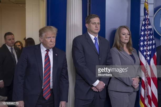 US President Donald Trump arrives to speak at a White House press briefing in Washington DC US on Thursday Jan 3 2019 Trump congratulated Nancy...