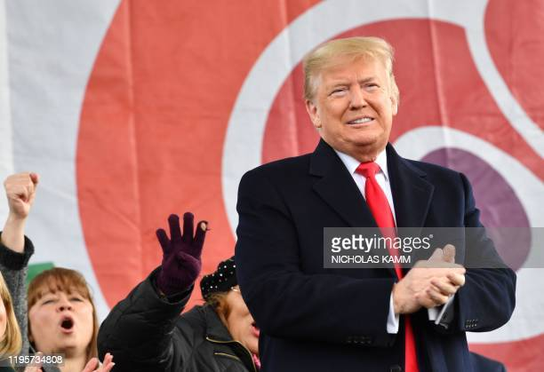 US President Donald Trump arrives to speak at the 47th annual March for Life in Washington DC on January 24 2020 Trump is the first US president to...