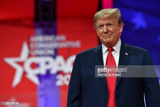 US President Donald Trump arrives to speak at the annual Conservative Political Action Conference in National Harbor Maryland on March 2 2019