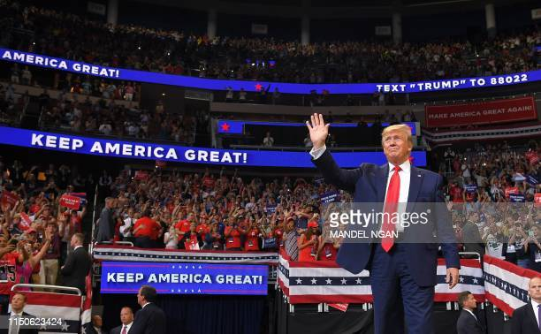 President Donald Trump arrives to speak during a rally at the Amway Center in Orlando Florida to officially launch his 2020 campaign on June 18 2019...