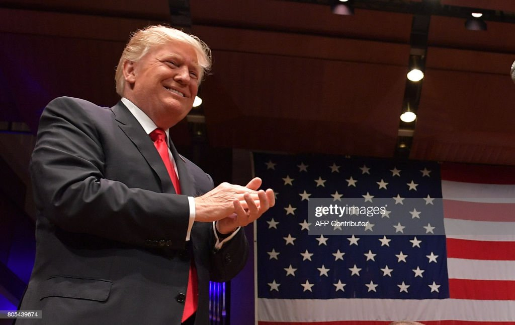 US President Donald Trump arrives to speak during the Celebrate Freedom concert at the John F. Kennedy Center for the Performing Arts in Washington, DC on July 1, 2017. /