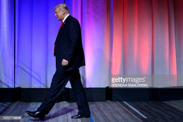 US President Donald Trump arrives to speak during the Ohio Republican Party State Dinner at the Greater Columbus Convention Center August 24 2018 in...