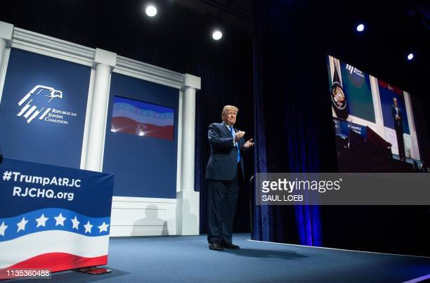 US President Donald Trump arrives to speak during the Republican Jewish Coalition 2019 Annual Leadership Meeting in Las Vegas Nevada April 6 2019