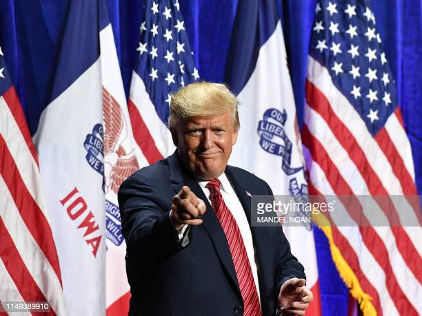 President Donald Trump arrives to speak during the Republican Party of Iowa Annual Dinner at The Ron Pearson Center in West Des Moines Iowa on June...