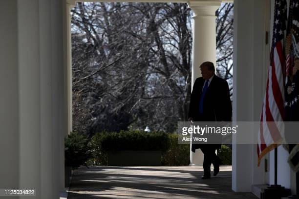 S President Donald Trump arrives to speak on border security during a Rose Garden event at the White House February 15 2019 in Washington DC...