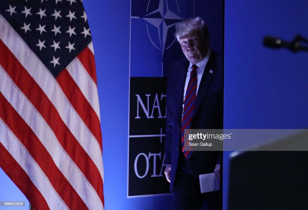 U.S. President Donald Trump arrives to speak to the media at a press conference on the second day of the 2018 NATO Summit on July 12, 2018 in Brussels, Belgium. Leaders from NATO member and partner states are meeting for a two-day summit, which is being overshadowed by strong demands by U.S. President Trump for most NATO member countries to spend more on defense.