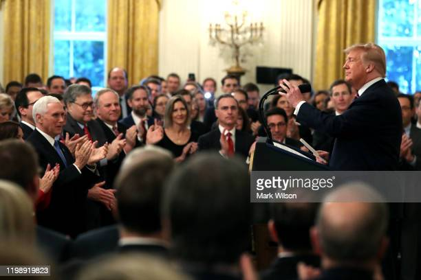 S President Donald Trump arrives to speak to the media one day after the US Senate acquitted on two articles of impeachment in the East Room of the...
