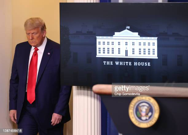 President Donald Trump arrives to speak to the press in the James Brady Press Briefing Room at the White House on November 24, 2020 in Washington,...