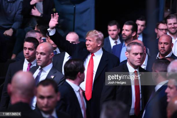 President Donald Trump arrives to the UFC 244 event at Madison Square Garden on November 02 2019 in New York City