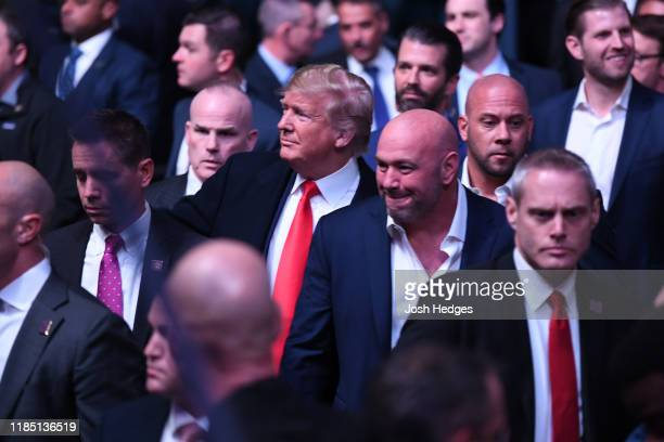 President Donald Trump arrives to the UFC 244 event with Dana White at Madison Square Garden on November 02 2019 in New York City