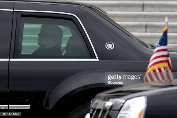 US President Donald Trump arrives to the US Capitol in the presidential limousine known as 'The Beast' for a meeting with Senate Republicans in...