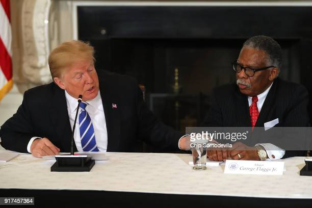 S President Donald Trump asks Vicksburg Mississippi Mayor George Flaggs Jr to speak during a meeting with state and local officials to unveil the...