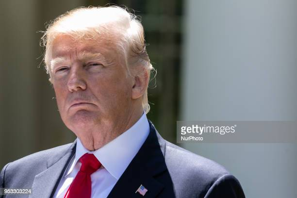 US President Donald Trump at his joint press conference with President Muhammadu Buhari of the Federal Republic of Nigeria in the Rose Garden of the...