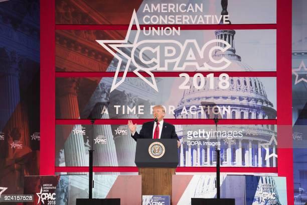 President Donald Trump at the Conservative Political Action Conference sponsored by the American Conservative Union held at the Gaylord National...